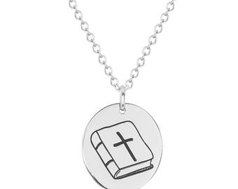 "Stainless Steel Faith Bible Oval Inspirational Prayer Religious Pendant, 18"" Chain Necklace"