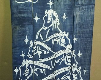 Christmas Horses - Blue