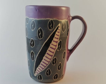 Pottery mug handcrafted and carved, sgraffito, coffee cup, gift under 25