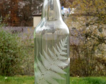 Water Bottle - Glass Bottle - Zero Waste - Reusable - Etched Glass Bottle - Glass Water Bottle - Eco Friendly Gift - Etched Water Bottle