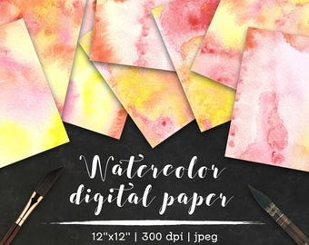 Watercolor digital paper, orange and pink watercolor background, autumn watercolor background, watercolor scrapbook paper, fall watercolor