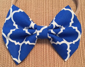 Blue and White Pattern Bow