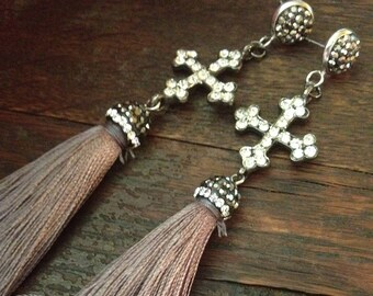 Italian rhinestone crosses and gray tassel earrings with pave caps and sterling silver pave posts.
