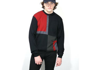 Vintage Mens Clothing • 1980's Color-Block Sweater • Men's Wool Knit Crewneck Sweater • Made in Italy