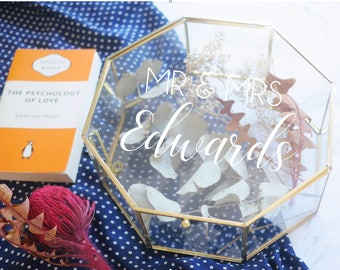 Personalised Glass mirror geometric hexagon gold box | cards weddings birthday  gifts |  wishing well | Mr and Mrs | customised text
