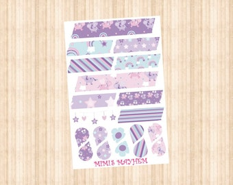 Lilac Unicorn Washi Strips & Drops // Happy Planner // Erin Condren //Personal