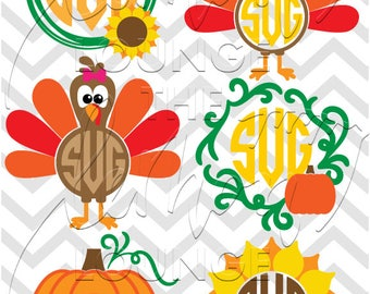 Thanksgiving Monogram svg, 6 fall monogram svg, sunflower svg, turkey monogram svg, pumpkin monogram cut file, commercial use OK,