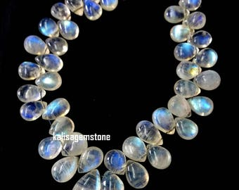 Brand new Amazing full 8 inch strand Natural RAINBOW MOONSTONE smooth pear shaped briolettes, blue flashy moonstone, 5x8 mm - 9x15 mm[E3199]