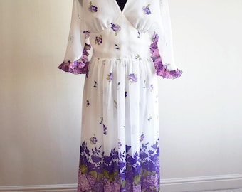 1970s White and Purple Floral Caped Maxi Dress, Approx Size 10