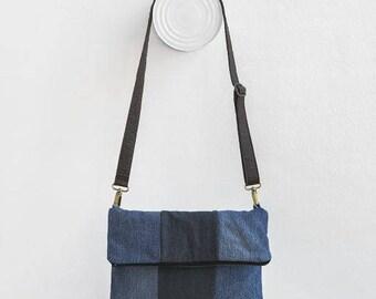 flap texan bag  denim blue and dark blue with piñatex handle