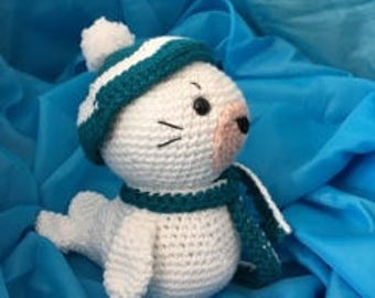 Snow Seal, Amigurumi Seal, Crocheted Seal, Wintertime Seal, Seal for Child.