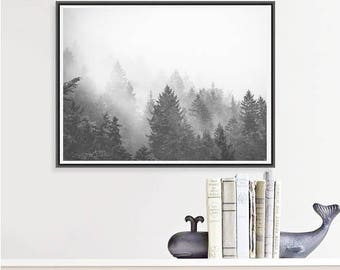 Forest Photography, Trees in Fog Nature Art Print, Black and White Landscape Photo, Large Wall Art Tree Print, Moody Art, Minimalist Art