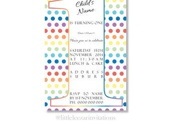 Rainbow Polka Dot 1st Birthday Invitation