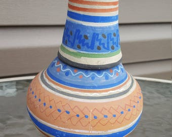 Vintage Water Carafe w/ Tumbler Mexican Clay Pottery