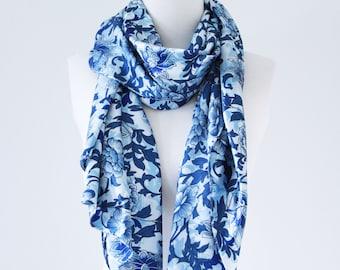 Soft Elegant Long Wrap Scarves/Blue Porcelain Floral Print Scarf/Spring Summer Scarf/Women Scarves/Bridal Shawl