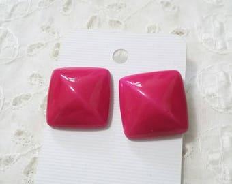 Vintage Fushia Domed Square post earrings
