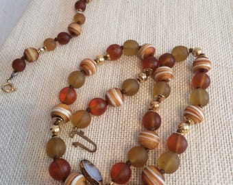 Amber Color Hand Tied Glass Beaded Choker and Bracelet Set