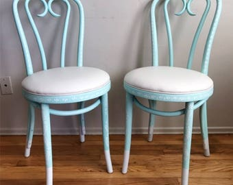 Pair of Hand Painted Thonet Bistro Chairs in Mint and White