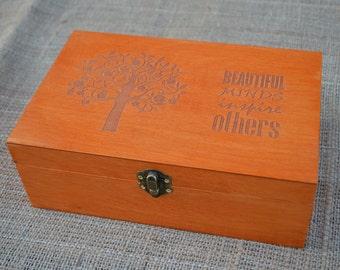 Personalized Tea Box, Tea box, Wood Tea Box, Custom Tea storage chest 6, Engraved storage box, Personal tea box, Customized tea box