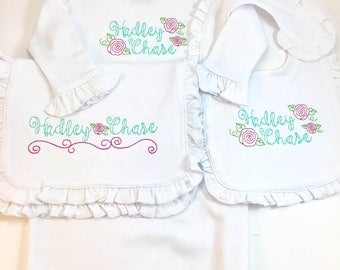 Monogram baby gift etsy baby girls vintage rose monogrammed gown bib burp cloth set girls monogrammed baby negle Gallery