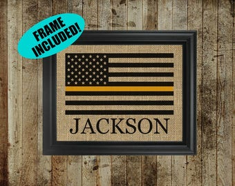 Thin Gold Line Burlap Print - Dispatcher Flag - Dispatcher Gifts - Dispatcher Gold Line Flag - 911 Dispatcher Sign - Dispatcher Wife - Gifts