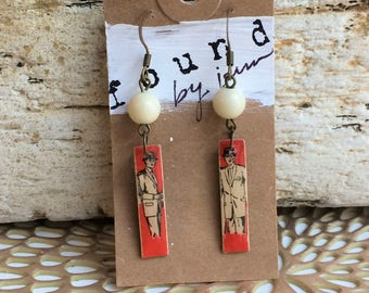 Matchstick Earrings, Vintage Earrings, Vintage Matchsticks, Men's Fashion, Vintage Men, Funky Earrings, Recycled Jewelry, Gift for Her