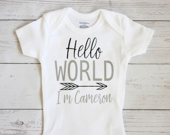 Hello world onesie | Personalized name, Take Home Outfit, Coming Home Outfit, Hello world, Baby shower gift, Baby boy clothes, onesie