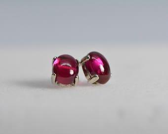 Ruby earrings stud | sterling silver, 7X5 Cabochon, red earrings,July Birthstone, silver jewelry, ruby jewelry