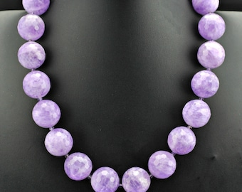 Lavender Amethyst 20mm Faceted Beads .925 Silver Necklace