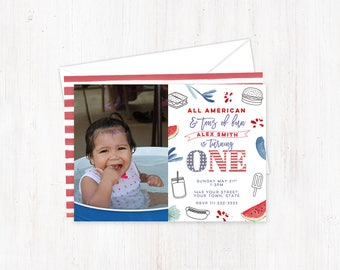 4th of July birthday invites, photo party invites, girl party invitations, labor day birthday, all american invite, tons of fun turning one