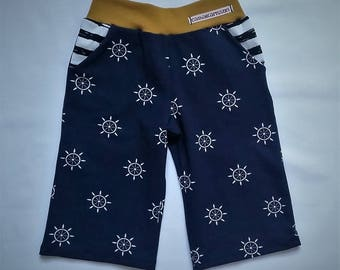 Kids trousers for the summer, Bermuda shorts, maritime pants for children, navy, blue, with pockets, striped, stripes, boys trousers, steering wheel of the ship