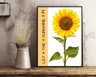 Sunflower Print Sun Flower Poster Sweet Summertime Inspirational Quote Summer Printable Wall Art Digital Print Download Bogo Free