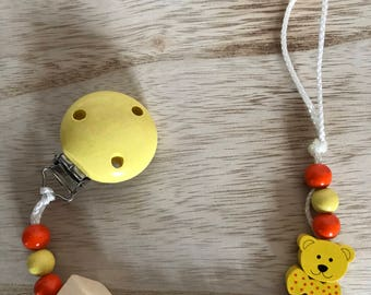 Pearl pacifier clip personalized wood