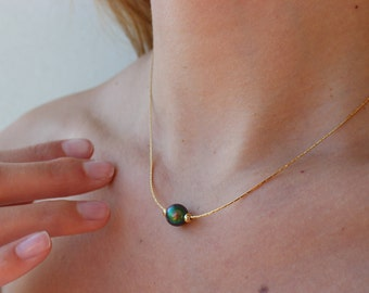 Colored Pearl Necklace, Gold