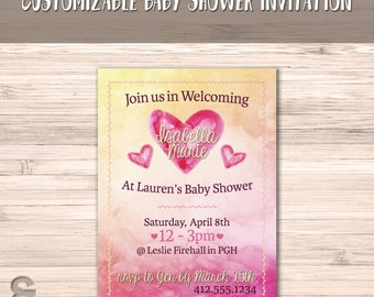 Girl Baby Shower Invitation | Pink and Yellow Watercolor | Baby Girl Invite | Hearts Baby Shower Invitation | DIGITAL FILE ONLY