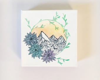 Floral Wreath Mountain- canvas!