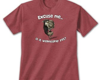 Excuse Me Camel T-Shirt, Hump Day Wednseday Meme Joke Funny Animal Nature Lover High Quality Tee Humpback Desert Long Annoying Work Week