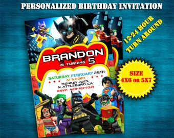 Lego Batman Invitation- Lego Batman Invite- Lego Batman Birthday- Lego Batman Party- Lego Batman Birthday Invitation- Lego Batman