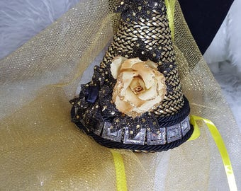 Damsel in Distress Antique Gold & Black Satin Rose with Sunflowers, Children's Fantasy Medieval Style Princes Wimple Hat