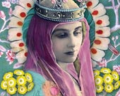 Purple queen. Greetings card. Art cards. Romany Soup.