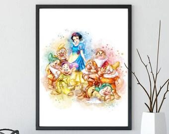 Snow White print, disney princess Watercolor, Art Print, Nursery Wall decor girl Print Princess art, snow white gifts, snow white printable