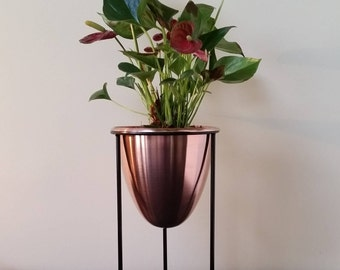 Solid Copper Plant Pot With Stand