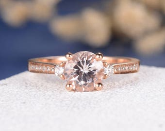 Morganite Engagement Ring Rose Gold Wedding Ring Diamond 3 Stones Eternity Band Pave Multistone Unique Anniversary Promise Graduation Gift