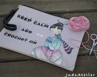 Keep calm & Crochet on, Crochet clutch, crochet Bag, clutch for weavers, Illustrated clutch, Crochet Gift, weavers gift, carry yarn