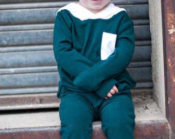 Baby Romper, Toddler Romper - Green Romper, Hooded Romper, Harem Romper, Kids Romper, Boys romper, Girls romper, Playsuit, Onesie