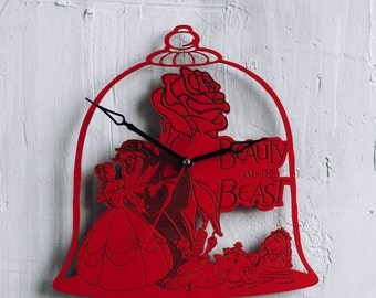 Beauty and the Beast decor home clock disney artwork beauty and the beast decorations beauty and the beast enchanted rose silhouette poster