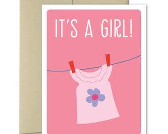New Baby Card - Welcome Baby Card - Pregnancy card - Baby Shower card - Girl Baby Shower - New parents Card - Baby Girl Card - It's a Girl