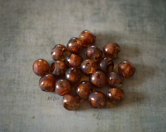 8 mm, 15 Picasso beads, brown, pink, czech glass beads, faceted, brown beads, round cut