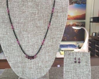 Pink Sapphire and Black Spinel Necklace Set