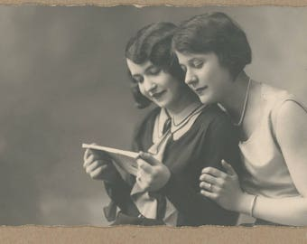 Parisian Ladies Get Good News | Artistic 1920's Photo Postcard | RPPC | Paris Studio Photography | Stylish French Flapper Portrait | Antique